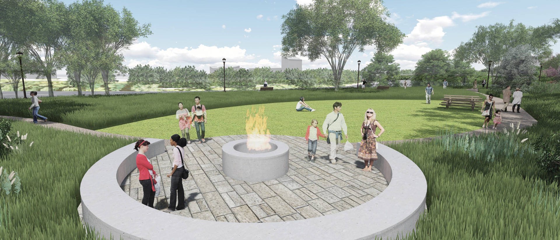 Artist's rendering of Garfield Avenue project's outdoor classroom space