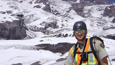 Corrie Floyd, geology major, at his internship near Mt. Rainier.