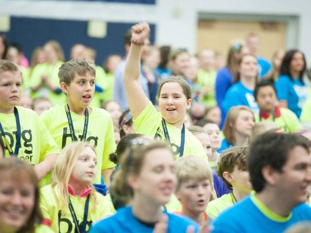 Area schoolchildren at a Blugold Beginnings Fifth-Grade Tour Day event at UW-Eau Claire.