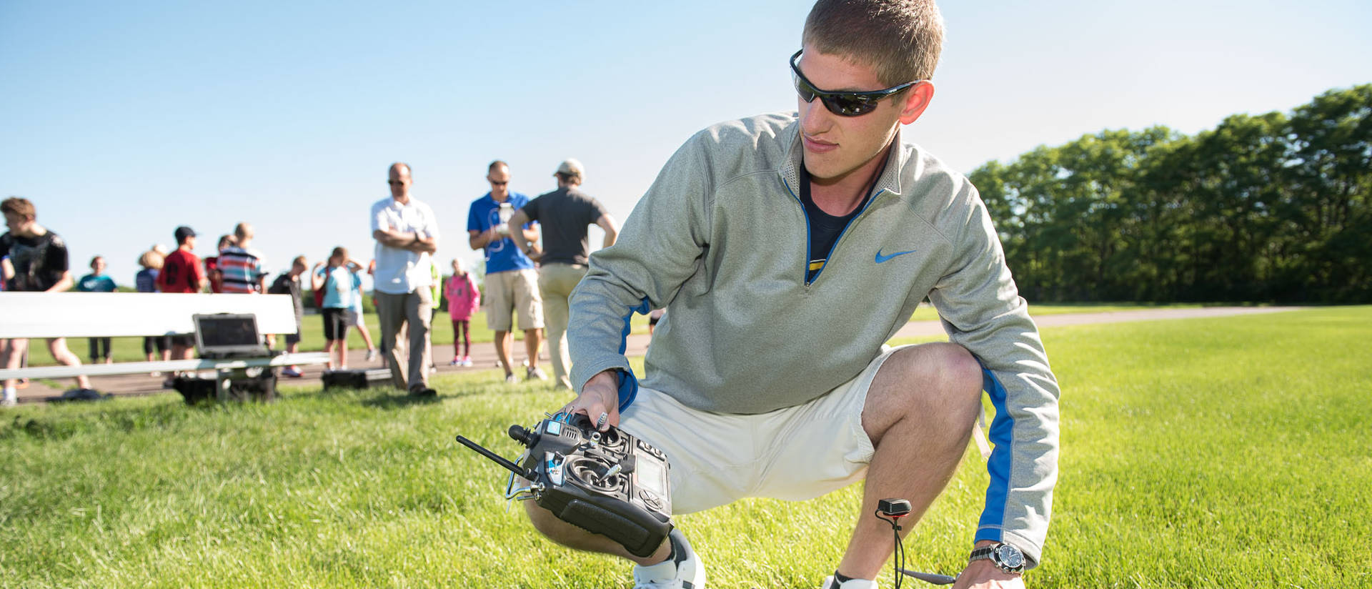 Student and an unmanned aerial vehicle (UAV)