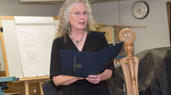Dr. Susan Harrison with UW-Eau Claire's new mace