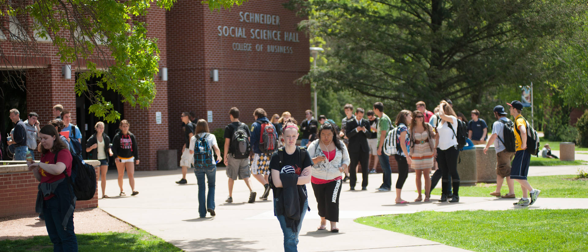 Students outside Schneider Hall