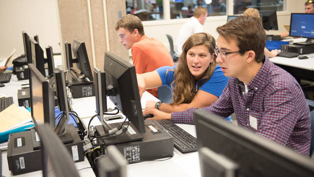 Students register for their classes at Orientation.