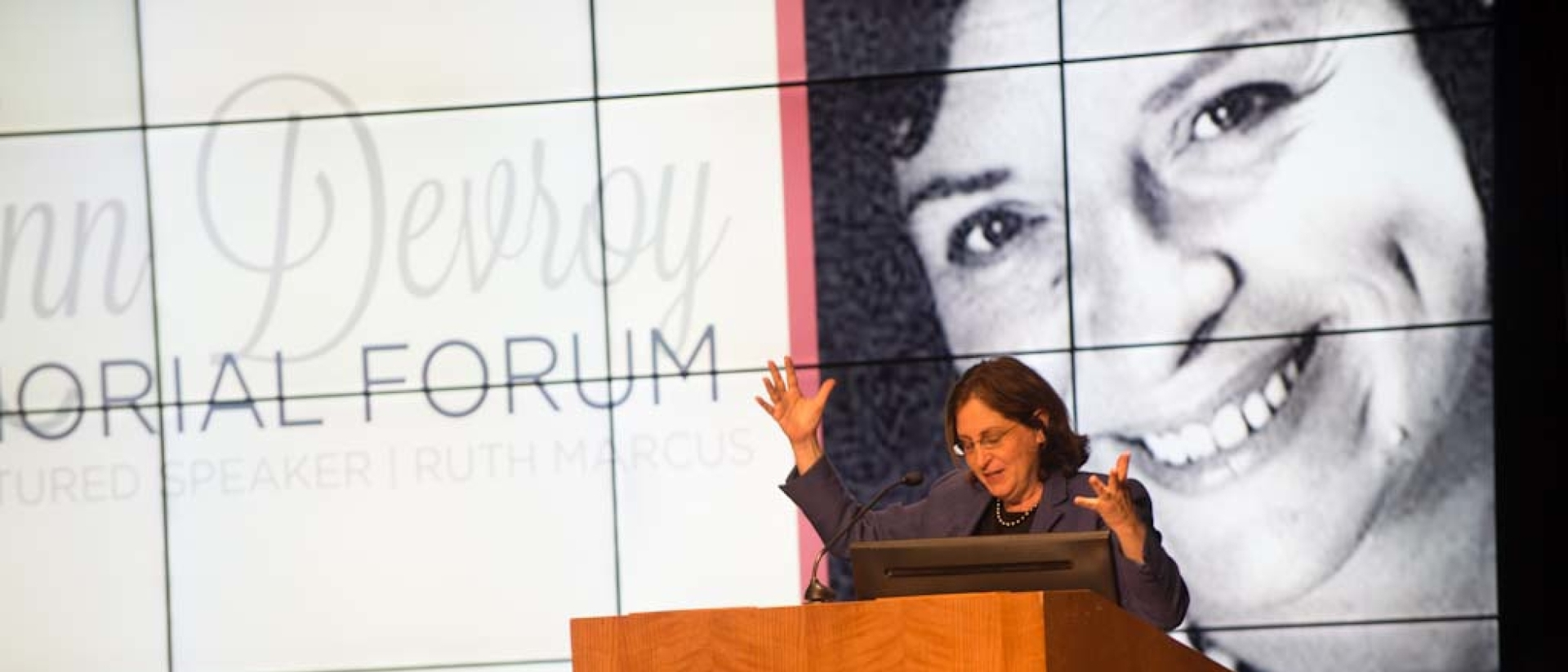 Ruth Marcus presenting at the Ann Devroy Memorial Forum