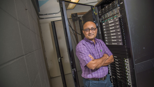 Dr. Bhattacharyay with the super computer.