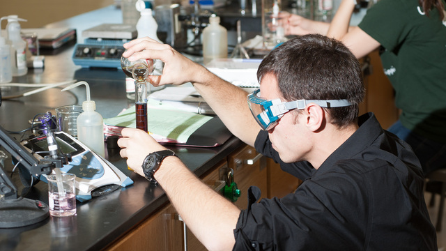 Student in Fred King's chemistry class.