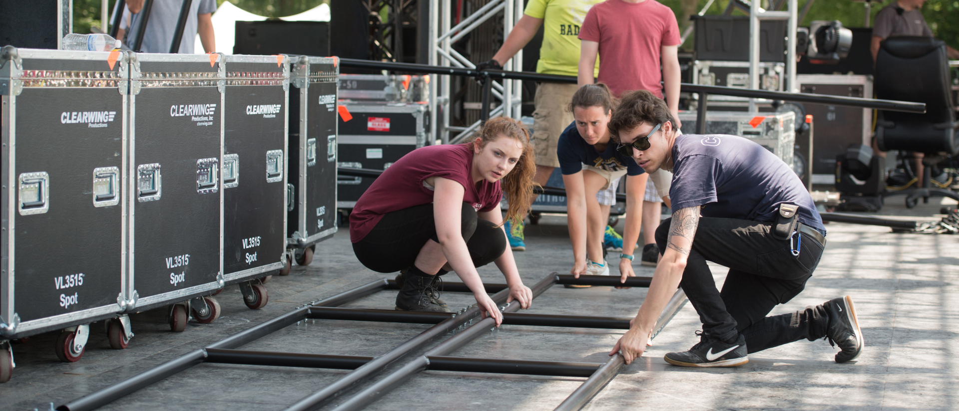 UW students help set up Eaux Claires Music Festival