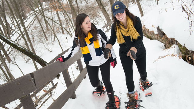 Adventure in the snow with snowshoes