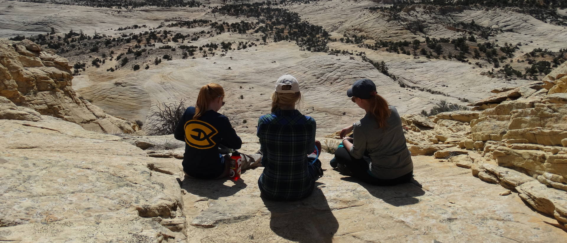 Biology students stop to enjoy a breathtaking canyon view