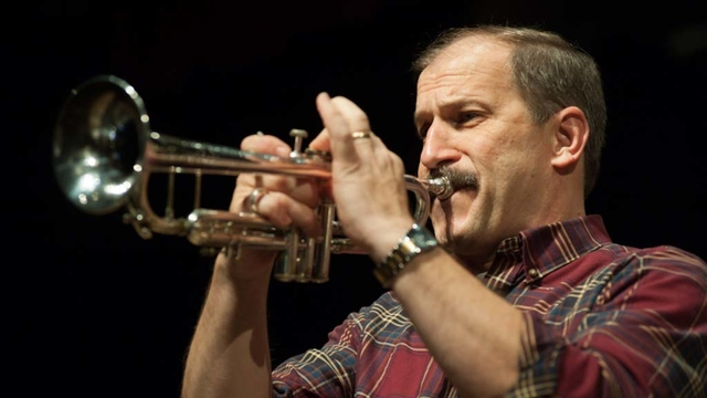 Director of Jazz Studies, Bob Baca, plays the trumpet.