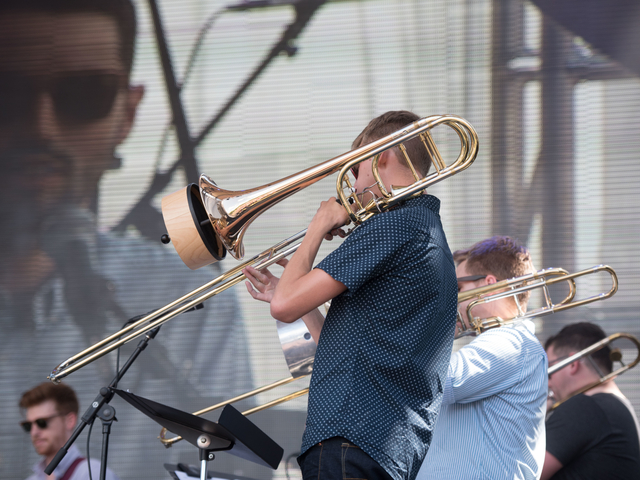 Members of the UW-Eau Claire Jazz Studies ensemble perform at the Eaux Claires festival