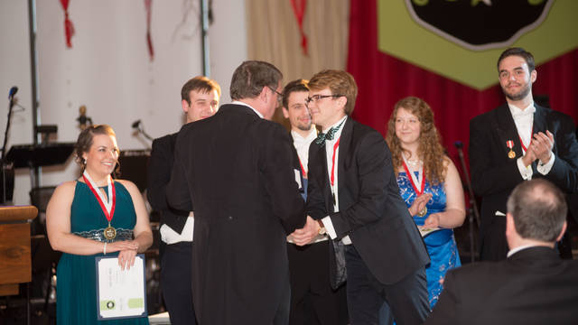 Students receiving scholarships at the annual Viennese Ball