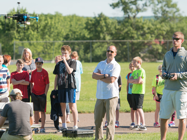 UWEC student flying a UAS.