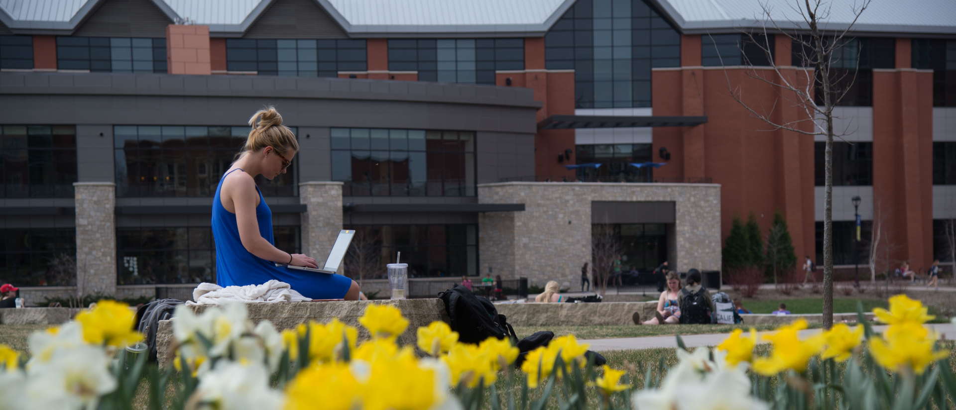 Student works outside on laptop