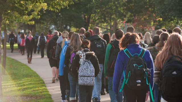 Students walk to class