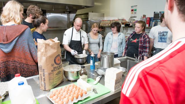 UWEC French students learning how to make dessert