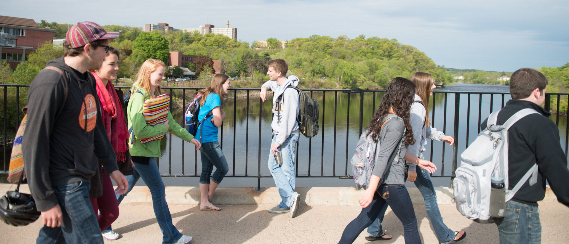 Students on campus footbridge