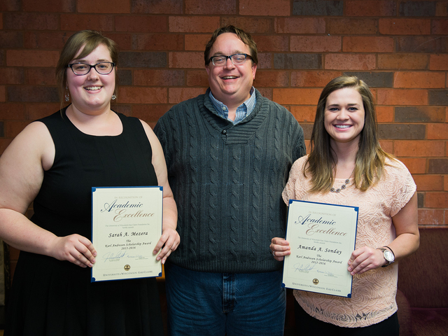 Dr. Peterson with scholarship winners