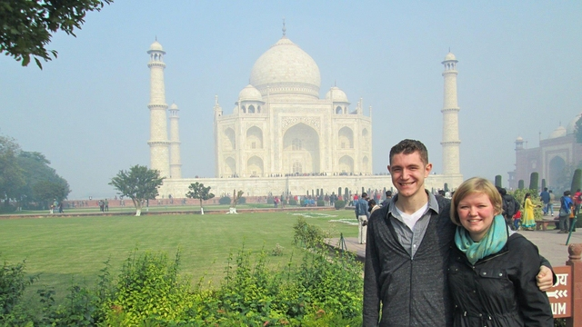 Two students in front of the Taj Mahal