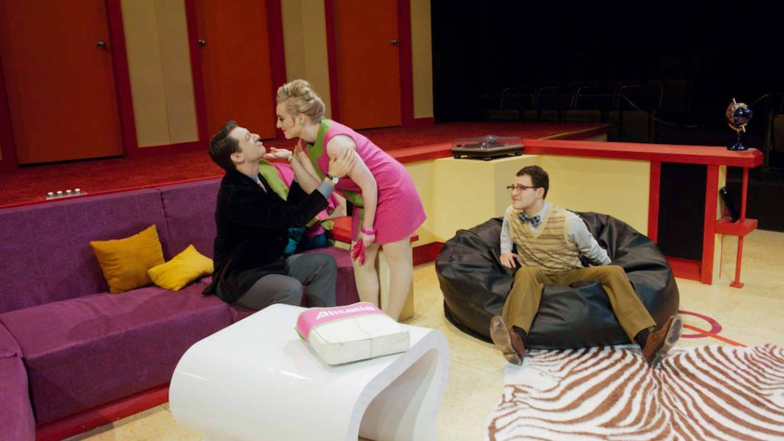 "Students acting in the play ""Boeing Boeing"" at UW-Eau Claire"