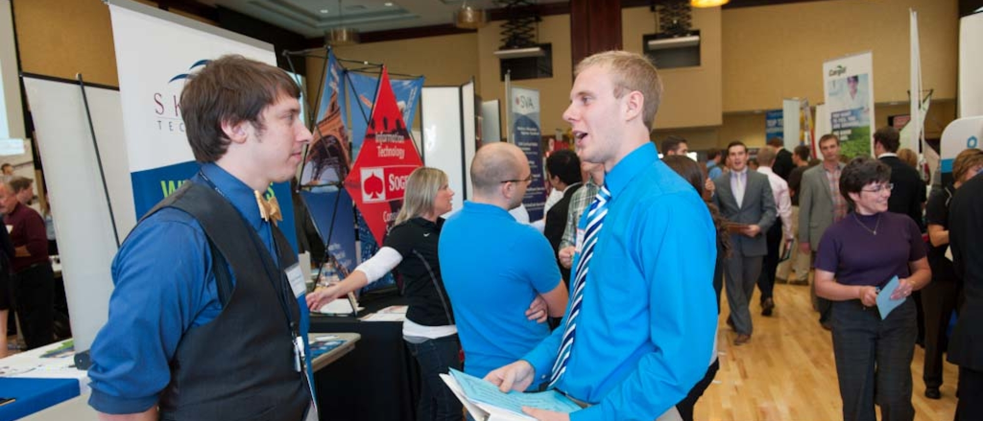 Student talking at job fair