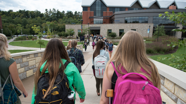 Students walking to Davies Center