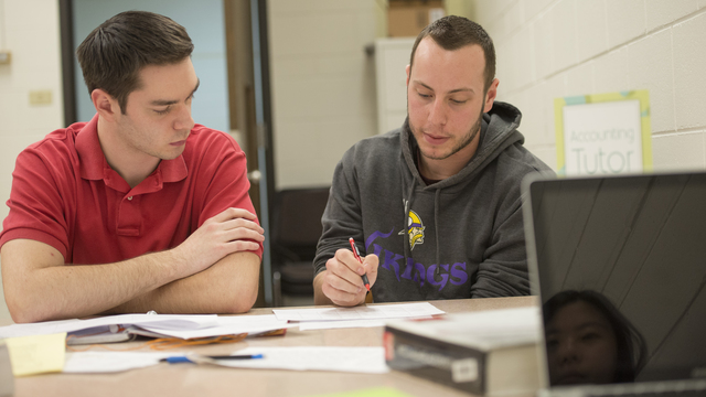 A student receives assistance from a business tutor