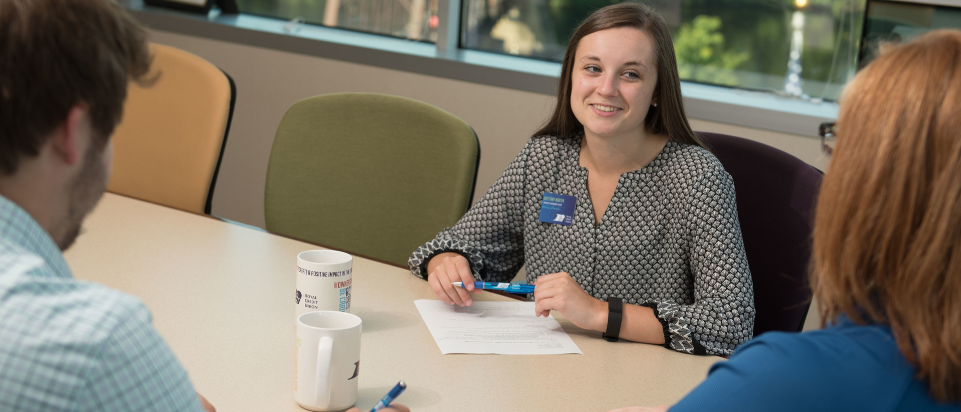 Intern works with supervisors at her internship with RCU.