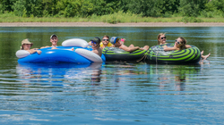 Students floating down the Chippewa River.