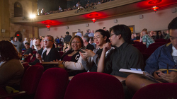 UW-Eau Claire students (from left) Devin Dawson, Cece Lewis, Carter Kha, Sierra Lomo and Richard Yang attend a screening at the Castro Theatre during the Frameline International LGBTQ Film Festival in San Francisco.