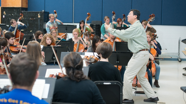 UWEC orchestra students in class