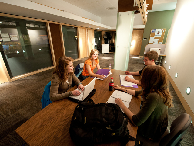 Students working in the CJ Center at UWEC