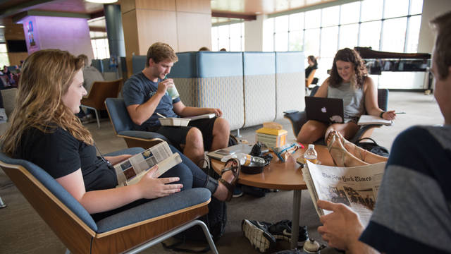 Students studying in Davies 2nd floor