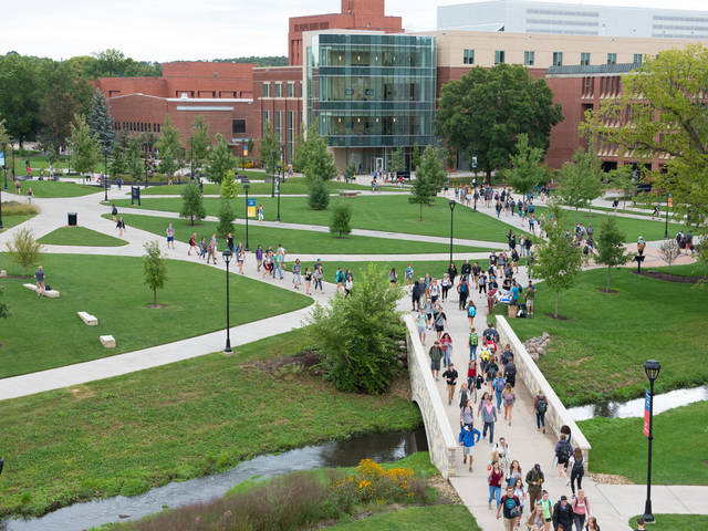 Students walking across campus mall