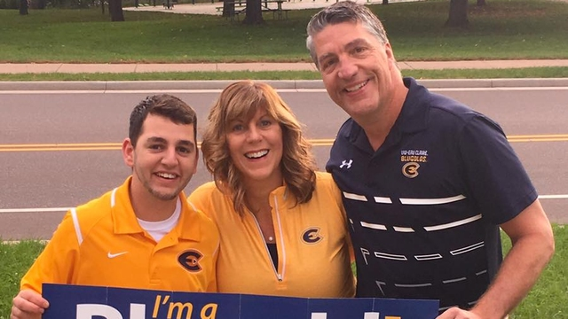 UW-Eau Claire junior Kyle Naber with his parents, Mary Naber '86 and David Naber '86