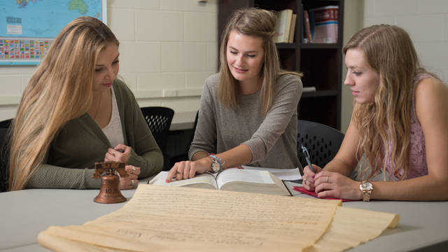 UWEC students reviewing constitutional documents
