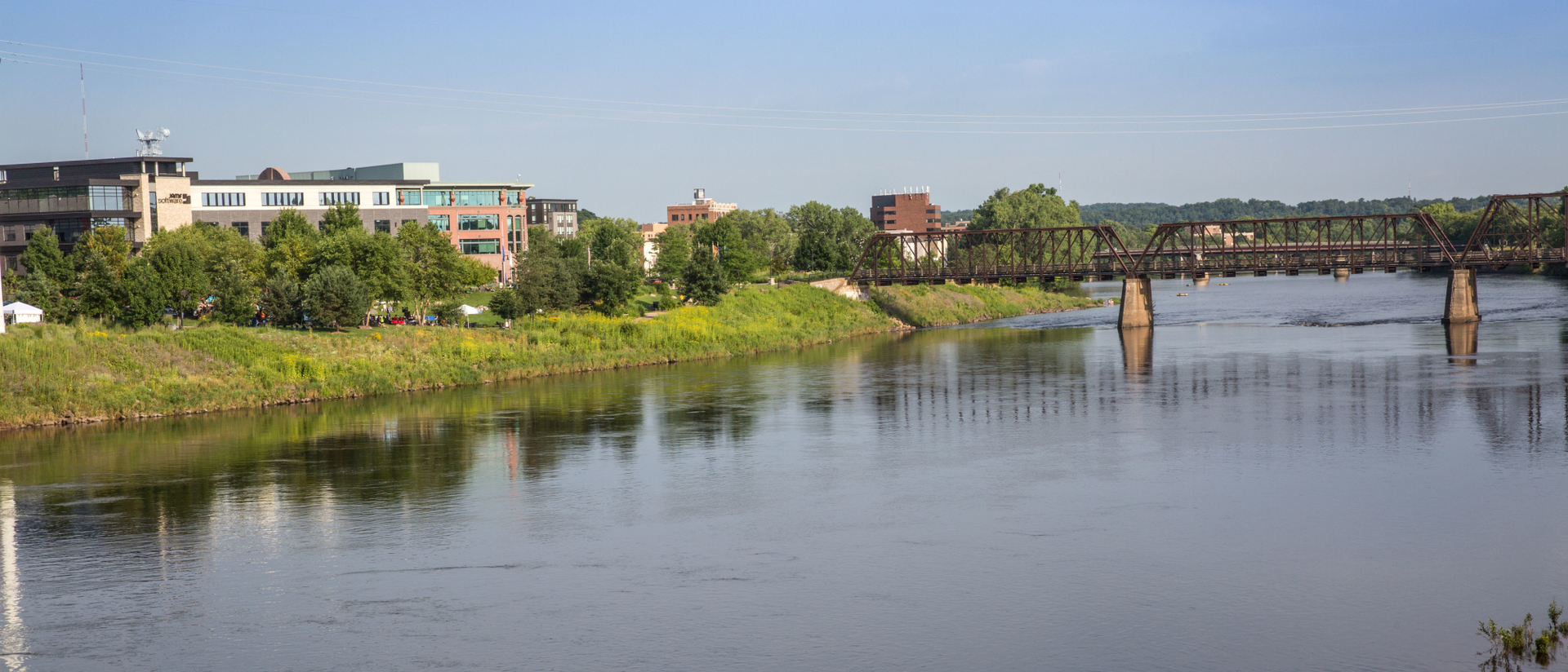 Phoenix Park and the footbridge over the Chippewa River.