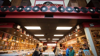 UWEC students checking out the record store in Eau Claire.