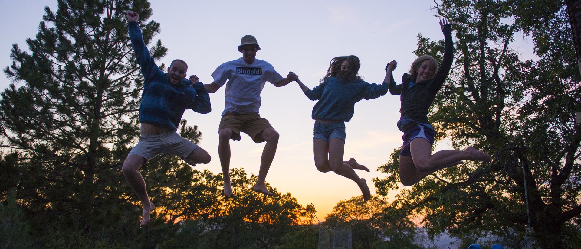 Students jumping at Yosemite National Park