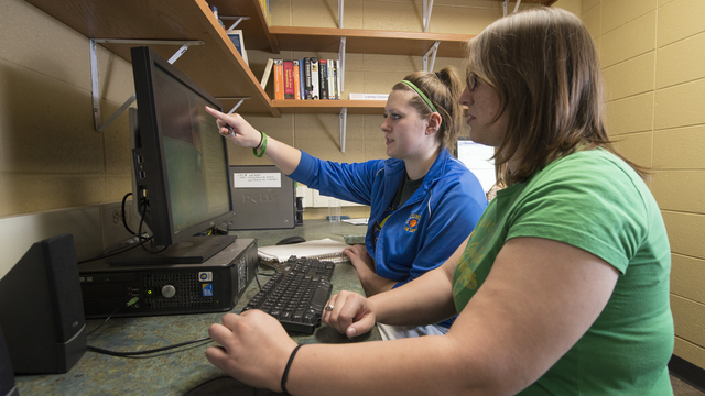 Students working on research