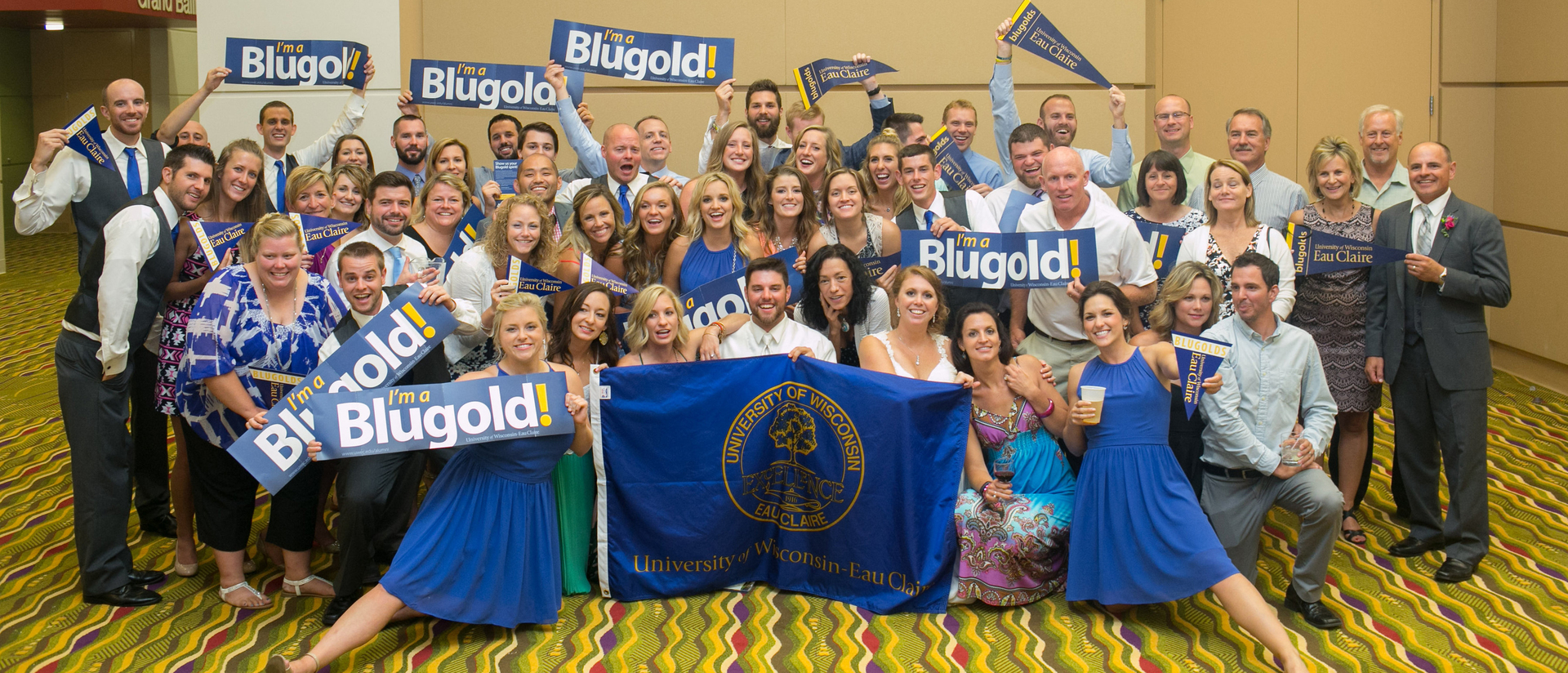 Ryan Shaefer, Heidi Hietpas and 60-plus Blugold family and friends at their August 2016 wedding.