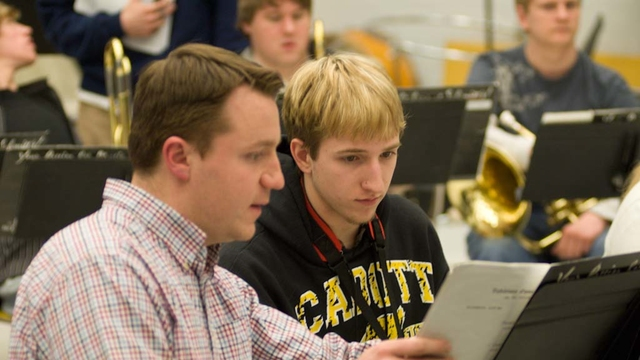 Chippewa Valley symphony student works with instructor