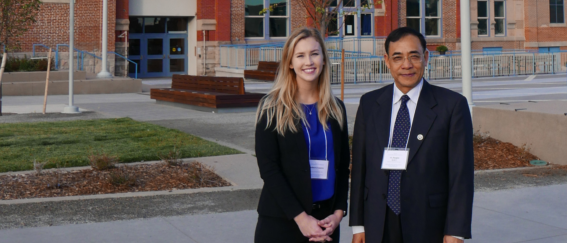 Dr. Jianjun Ji and sociology grad Lauren Bollaert at Denver conference