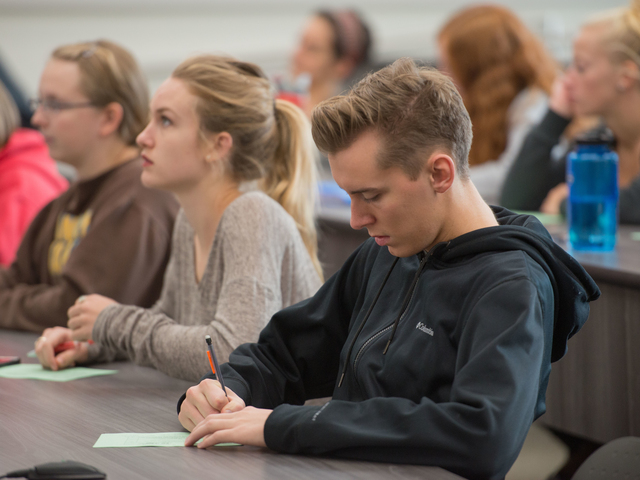 Student in sociology classroom