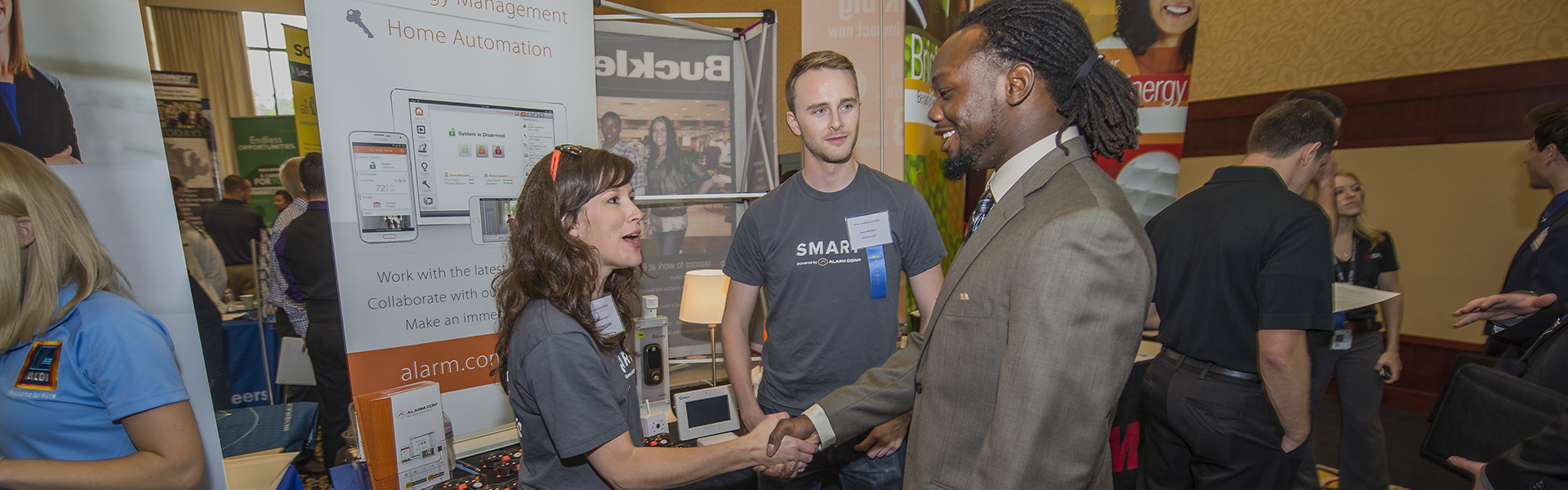 Student networking at the career fair