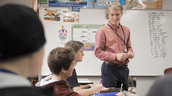 Joel Newman, Fulbright award winner, student teaching in Spanish class.