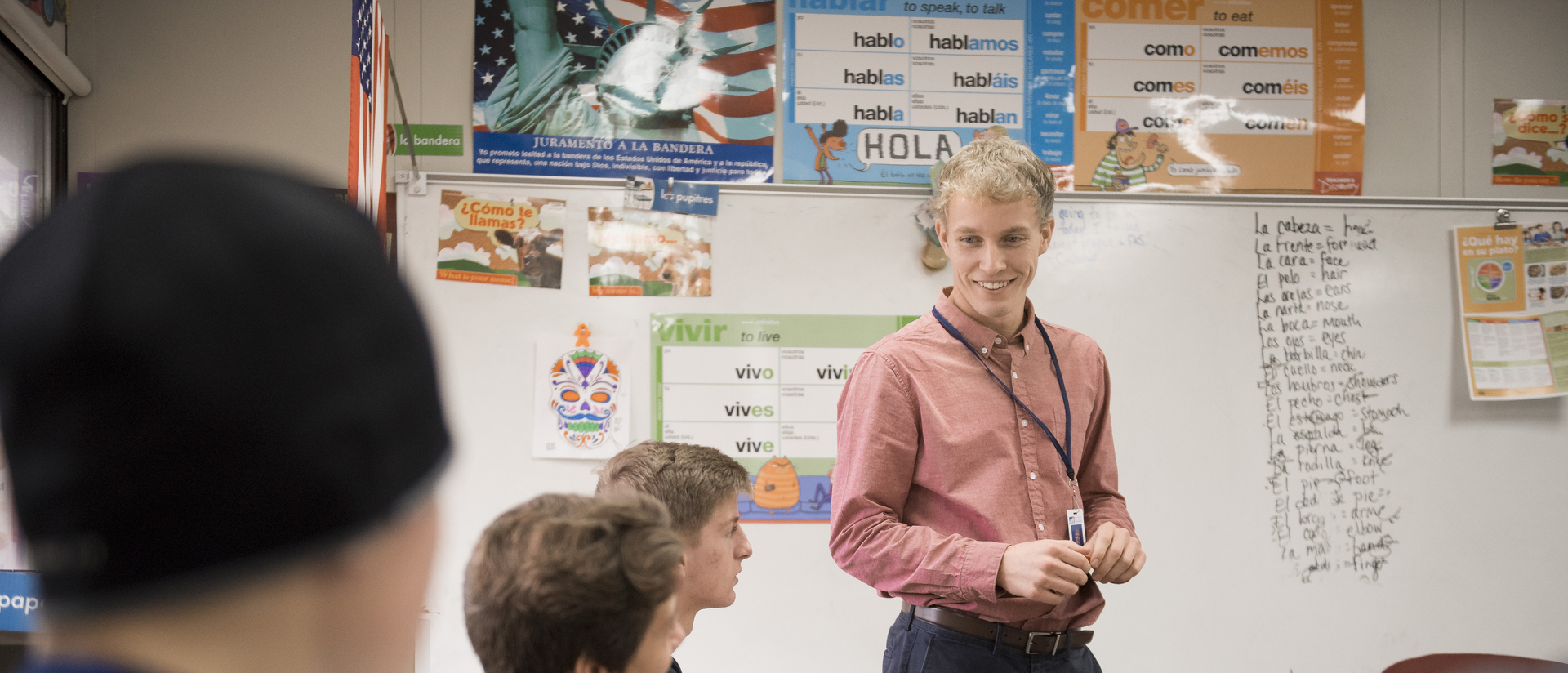 Senior Joel Newman teaching Spanish at a local Middle School