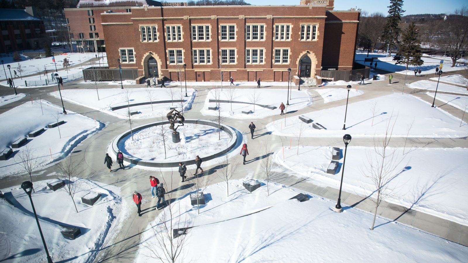 Winter campus mall scene