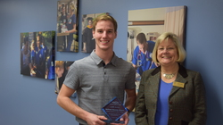 Jamison Young and Dean Linda Young, WCN Award for Northwestern Wisconsin Chapter of the American Assembly for Men in Nursing (AAMN)