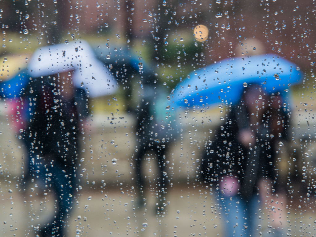 Rain covered lens, looking at blurring people carrying umbrellas.